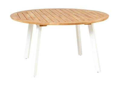 Traditional Teak DIANA MOSAIC table aluminium white legs