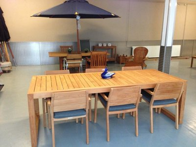 6 Cafe Stoelen.City Dining Table Met 6 Stoelen En Kussens Showroommodel Teak