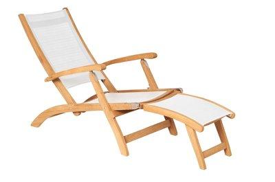 Traditional Teak KATE deckchair / ligstoel Wit